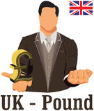British national currency symbol pound representing money and Flag. Stock Photography