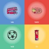 British National Symbols Vector Icons Set Stock Photos