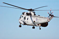 British naval helicopter. Airborne helicopter of the British Royal Navy. Sikorsky SH-3 Sea King often used for antisubmarine warfare Stock Photo