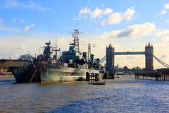 British Navy. Destroyers on Thames river in London Stock Photos