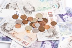 British notes and coins Stock Images