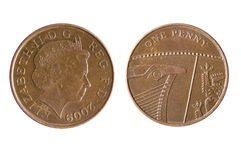 British One Penny Coin Reverse Showing a Segment of the Royal Shield Royalty Free Stock Images