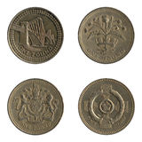 British One Pound Coin Back Designs. Four different designs on the back of British one pound coins Stock Photo