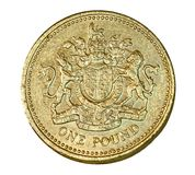 British one pound coin. With the classic royal coat of arms Stock Image