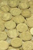 British One Pound Coins. Selection of British One Pound Coins Royalty Free Stock Image