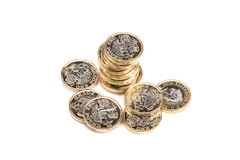 British one pound coins. On white background Stock Photography