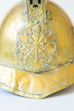 British Other Ranks Merryweather Brass Fire Helmet, close up of Stock Image