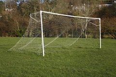 British park football pitch goal posts and net. Stock Photos