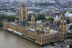 The British Parliament. With Big Ben, which is at the forefront. The whole building is located beside the River Thames in London Stock Photo
