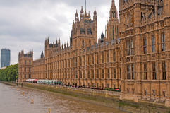 British Parliament building. Or Palace of Westminster on the banks of the Thames River, London Stock Photo
