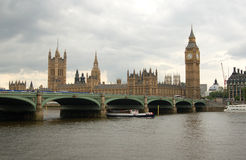 The British Parliament Building and Big Ben. A view across the Thames River of The British Parliament Building and Big Ben Royalty Free Stock Photo