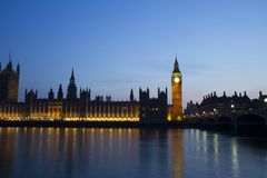 British parliament view in a sunset stock photo