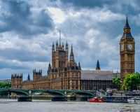 British Parliament on the shores of River Thames royalty free stock photography