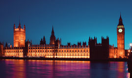 British parliament. Westminster parliament and Big ben in the evening, London, England Stock Photo