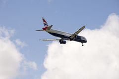 British passenger jet on landing approach Stock Image