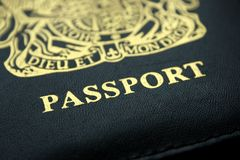 British Passport. Black and gold lettered British passport cover stock image