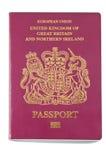 British Passport. Close up British Passport Isolated on White Background Royalty Free Stock Photos