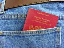 British passport in back pocket Stock Photo