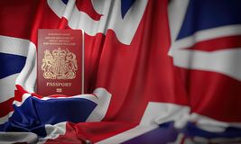British passport on the flag of the UK United Kingdom. Getting a UK Great Britain passport,  naturalization and immigration. Concept. 3d illustration vector illustration