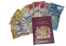 A british passport full of euros. Different denominations of euro stuffed inside a british passport Royalty Free Stock Image