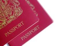British passports. Close-up of British passports with zoom effect Stock Photos
