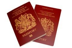 British Passports. Image of two british passports on a white background Royalty Free Stock Photos