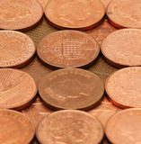 British Pennies 2. Background of British Pennies - 1p stock photo