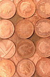 British Pennies. A background of British 1p coins stock photography