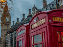 British phone booth with Big Ben in background - 6 Stock Image