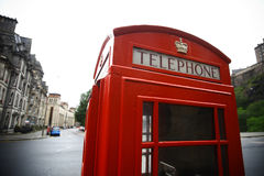 British phone booth. Color image of a vintage red London telephone booth Royalty Free Stock Images