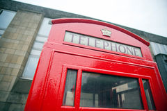 British phone booth. Color image of a vintage red London telephone booth Stock Photos