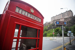 British phone booth. Color image of a vintage red London telephone booth Royalty Free Stock Image