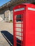 British phone booth, London Bridge. Bright red telephone booth under the London Bridge, Lake Havasu, Arizona Royalty Free Stock Photos