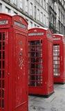 British Phone Booths on Royal Mile street in Edinburgh, Scotland Stock Images