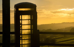 British phone box sillhouette. Royalty Free Stock Images