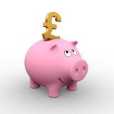 British piggy bank. A golden Pound in a pink piggy bank (3D rendering) - A clipping path is embedded to isolate the subject (no shadow stock illustration