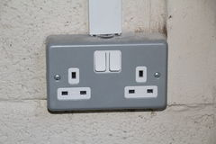 Switched Double Socket. British 3 pin switched double socket Royalty Free Stock Photo