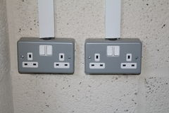Switched Double Socket. British 3 pin switched double socket Stock Photo