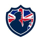 British Police Canine Team Crest Icon. Icon retro style illustration of a British police canine team showing a policeman and police dog silhouette with United stock illustration
