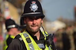 British Police on duty. St Neots, Cambridgeshire, England - October 20, 2015: British Police on duty in numbers Stock Photo