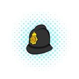 British police helmet icon, comics style Stock Photo