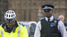 British policemen. Two British policemen on duty in London Royalty Free Stock Photo