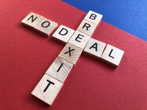 British Politics, Brexit ,No Deal buzz words. British Politics : Creative Concept. Wooden letters in a crossword form : Brexit, No Deal royalty free stock photo