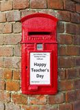 Happy Teachers Day. British post box with a message that reads Happy Teachers Day, ideal for a greeting card design royalty free stock photo