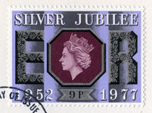 British Postage Stamp Celebrating the Queen`s Silver Jubilee Royalty Free Stock Photography
