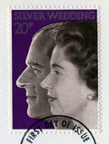 British Postage Stamp Celebrating the Queen`s Silver Wedding Ann Royalty Free Stock Image
