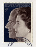 British Postage Stamp Celebrating the Queen`s Silver Wedding Ann Stock Image