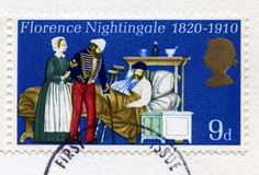 British Postage Stamp Commemorating Florence Nightingale. UNITED KINGDOM - CIRCA 1970: A used British postage stamp commemorating the 150th Anniversary of the Stock Photography