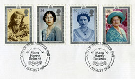 British Postage Stamps Commemorating The Queen Mother`s 90th Bir. UNITED KINGDOM - CIRCA 1990: A used British postage stamp celebrating the 90th Birthday of the Royalty Free Stock Photo