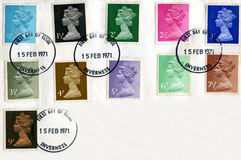 British postage stamps decimalisation 1971. British postage stamps commemmorating decimalisation in 1971. First day of issue Royalty Free Stock Image
